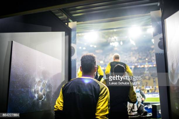 PierreEmerick Aubameyang of Dortmund enters the pitch prior to the UEFA Champions League group H match between Borussia Dortmund and Real Madrid at...