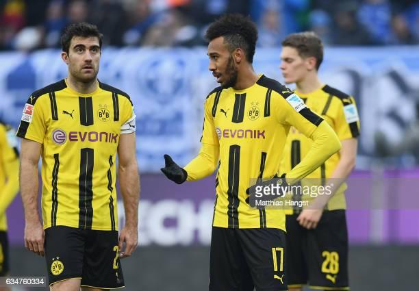 PierreEmerick Aubameyang of Dortmund gestures during the Bundesliga match between SV Darmstadt 98 and Borussia Dortmund at Stadion am Boellenfalltor...