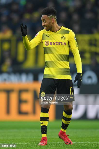 PierreEmerick Aubameyang of Dortmund gestures during the Bundesliga match between Borussia Dortmund and SV Werder Bremen at Signal Iduna Park on...