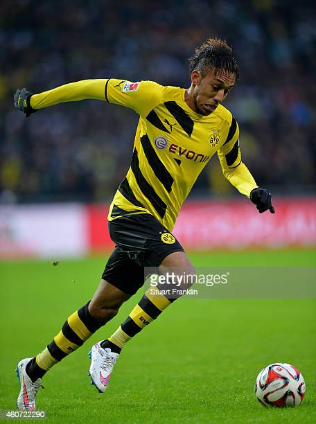 PierreEmerick Aubameyang of Dortmund in action during the Bundesliga match between SV Werder Bremen and Borussia Dortmund at Weserstadion on December...