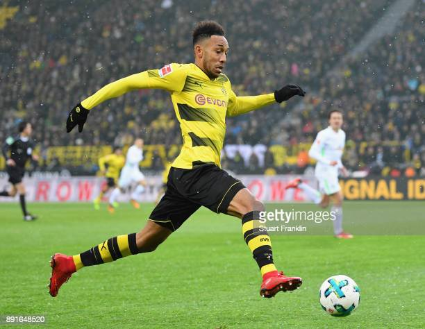 PierreEmerick Aubameyang of Dortmund in action during the Bundesliga match between Borussia Dortmund and SV Werder Bremen at Signal Iduna Park on...