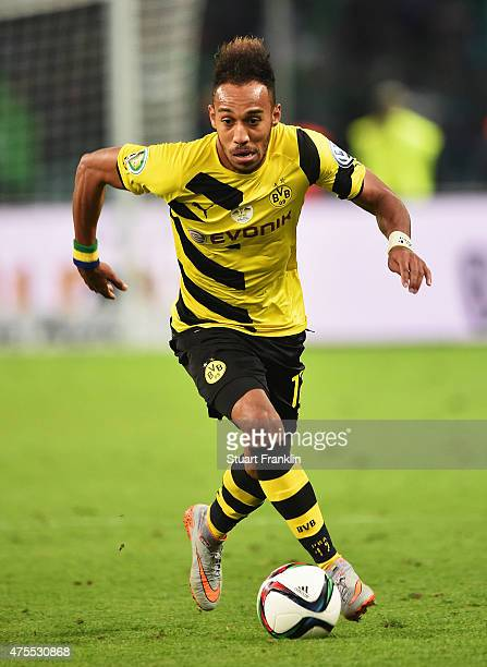 PierreEmerick Aubameyang of Dortmund in action during the DFB Cup Final between Borussia Dortmund and VfL Wolfsburg at Olympiastadion on May 30 2015...