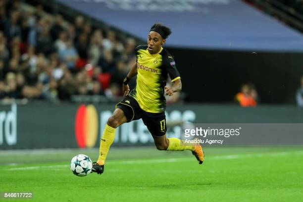 PierreEmerick Aubameyang of Dortmund in action during the UEFA Champions League group H match between Tottenham Hotspur and Borussia Dortmund at...