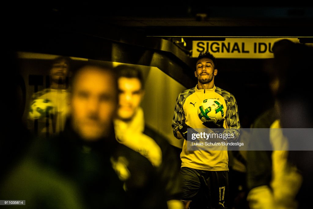 Pierre-Emerick Aubameyang of Dortmund is focused in the player tunnel prior to the Bundesliga match between Borussia Dortmund and Sport-Club Freiburg at Signal Iduna Park on January 27, 2018 in Dortmund, Germany.