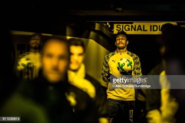 PierreEmerick Aubameyang of Dortmund is focused in the player tunnel prior to the Bundesliga match between Borussia Dortmund and SportClub Freiburg...