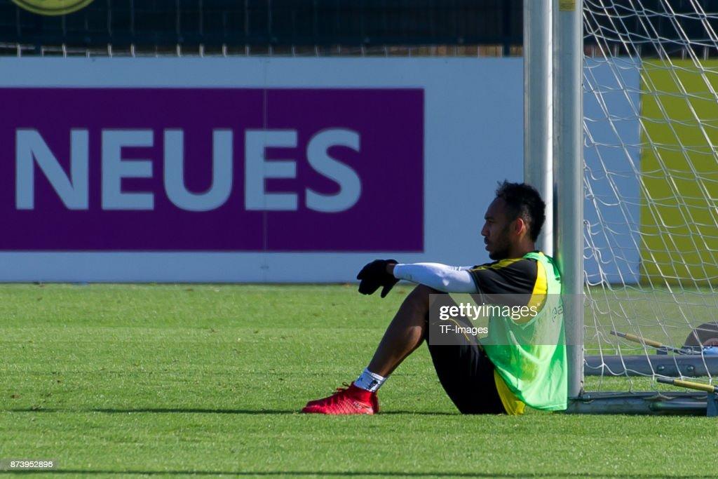 Pierre-Emerick Aubameyang of Dortmund looks on during a training session at BVB trainings center on November 5, 2017 in Dortmund.