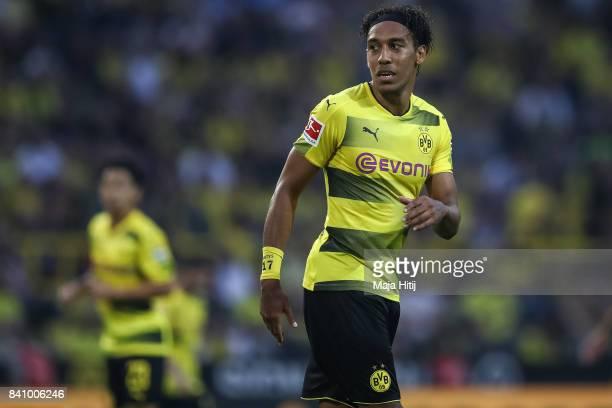 PierreEmerick Aubameyang of Dortmund looks on during the Bundesliga match between Borussia Dortmund and Hertha BSC at Signal Iduna Park on August 26...