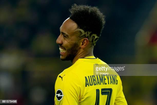 PierreEmerick Aubameyang of Dortmund looks on during the Bundesliga match between Borussia Dortmund and FC Schalke 04 at Signal Iduna Park on...