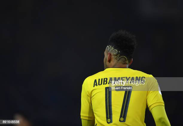 PierreEmerick Aubameyang of Dortmund looks on during the Bundesliga match between Borussia Dortmund and SV Werder Bremen at Signal Iduna Park on...