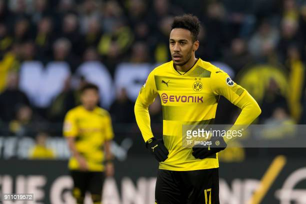 PierreEmerick Aubameyang of Dortmund looks on during the Bundesliga match between Borussia Dortmund and SportClub Freiburg at Signal Iduna Park on...