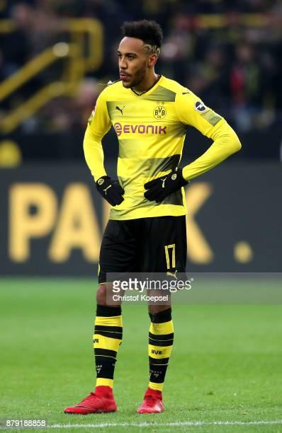 PierreEmerick Aubameyang of Dortmund looks thoughtful during the Bundesliga match between Borussia Dortmund and FC Schalke 04 at Signal Iduna Park on...