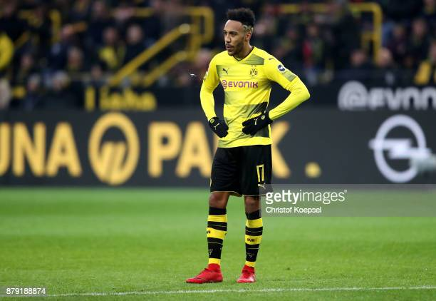 PierreEmerick Aubameyang of Dortmund looks thoughtful during the Bundesliga match between Borussia Dortmund and FC Schalke 04 at Signal Iduna Park on...