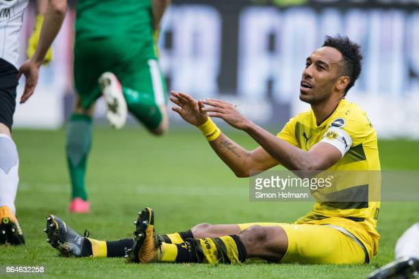 PierreEmerick Aubameyang of Dortmund reacts during the Bundesliga match between Eintracht Frankfurt and Borussia Dortmund at CommerzbankArena on...