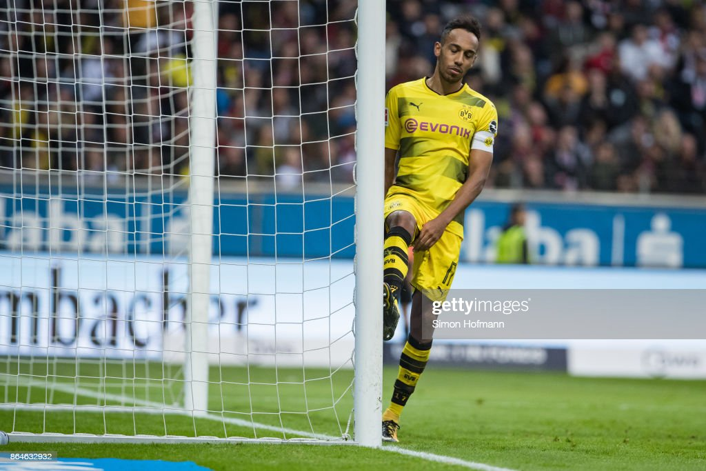 Pierre-Emerick Aubameyang of Dortmund reacts during the Bundesliga match between Eintracht Frankfurt and Borussia Dortmund at Commerzbank-Arena on October 21, 2017 in Frankfurt am Main, Germany.