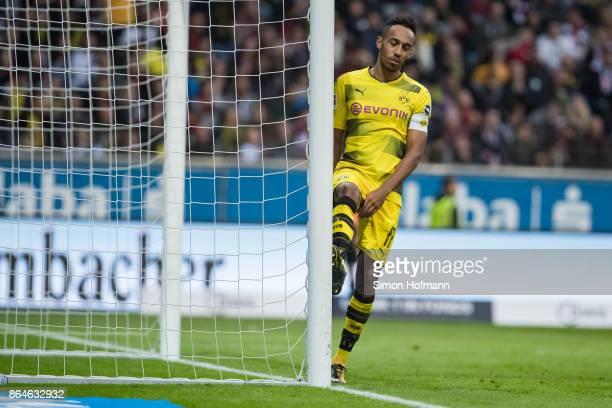PierreEmerick Aubameyang of Dortmund reacts during the Bundesliga match between Eintracht Frankfurt and Borussia Dortmund at CommerzbankArena on...
