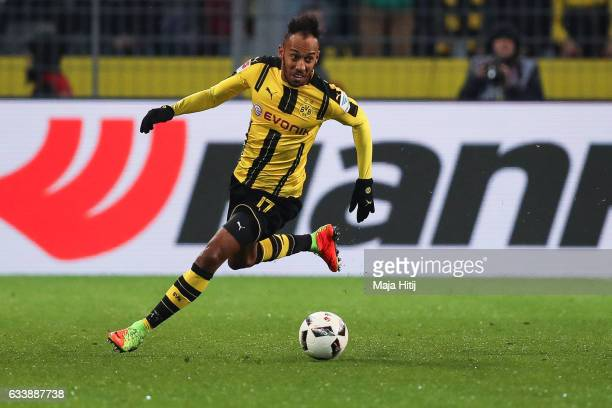 PierreEmerick Aubameyang of Dortmund runs with the ball during the Bundesliga match between Borussia Dortmund and RB Leipzig at Signal Iduna Park on...