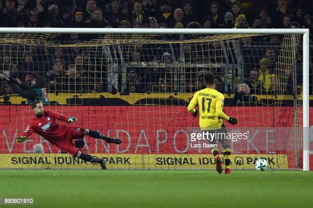 PierreEmerick Aubameyang of Dortmund scores a goal from the penally spot to make it 11 past goalkeeper Oliver Baumann of Hoffenheim during the...