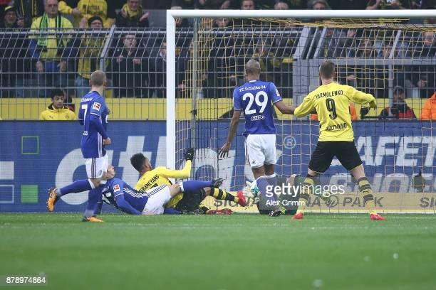 PierreEmerick Aubameyang of Dortmund scores a goal to make it 10 during the Bundesliga match between Borussia Dortmund and FC Schalke 04 at Signal...