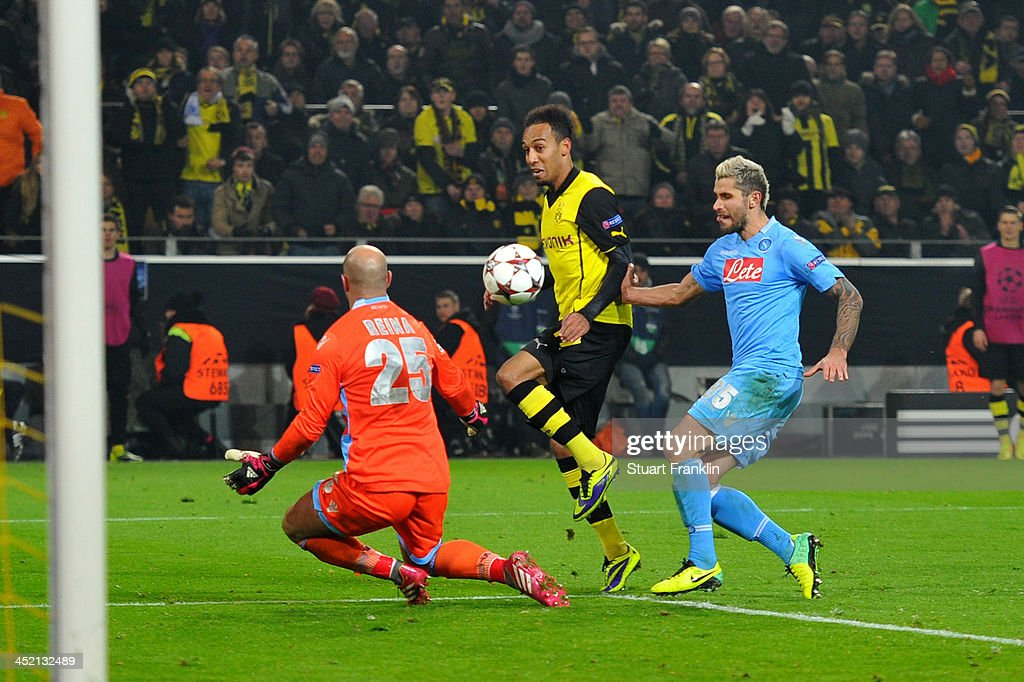 Pierre-Emerick Aubameyang of Dortmund scores his team's third goal during the UEFA Champions League Group F match between Borussia Dortmund and SSC Napoli at Signal Iduna Park on November 26, 2013 in Dortmund, Germany.