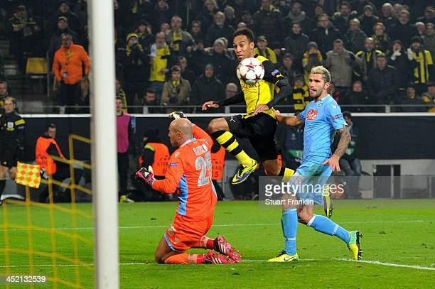 PierreEmerick Aubameyang of Dortmund scores his team's third goal during the UEFA Champions League Group F match between Borussia Dortmund and SSC...