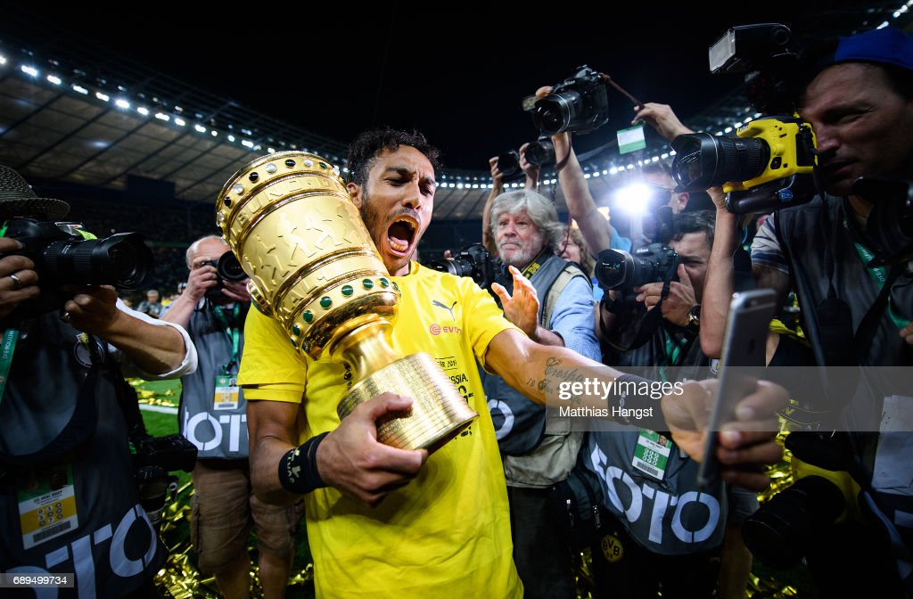 Pierre-Emerick Aubameyang of Dortmund takes a selfie with the trophy after winning the DFB Cup Final 2017 between Eintracht Frankfurt and Borussia Dortmund at Olympiastadion on May 27, 2017 in Berlin, Germany.
