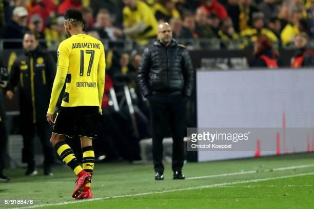 PierreEmerick Aubameyang of Dortmund walks off the piucth after hgis red card during the Bundesliga match between Borussia Dortmund and FC Schalke 04...