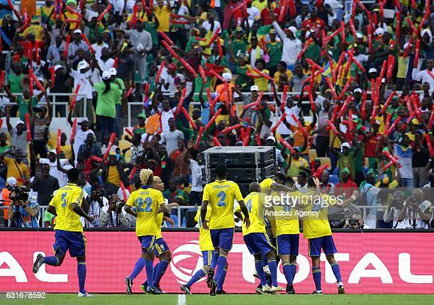 PierreEmerick Aubameyang of Gabon celebrates scoring a goal with his team mates during the Africa Cup of Nations 2017 match between Gabon and...