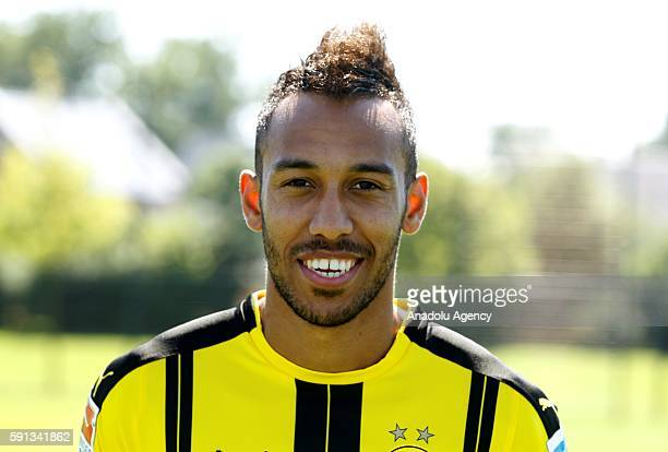 PierreEmerick Aubameyang of German Bundesliga first division soccer club Borussia Dortmund is pictured during the photocall for the upcoming 2016/17...