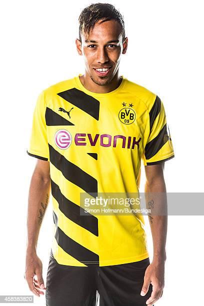 PierreEmerick Aubameyang poses during Borussia Dortmund Media Day on August 11 2014 in Dortmund Germany