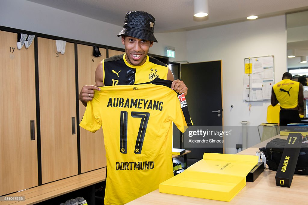 Pierre-Emerick Aubameyang revealing the new Borussia Dortmund home jersey, Season 2016-2017 on May 12, 2016 in Dortmund, Germany.