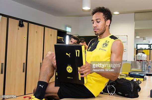 PierreEmerick Aubameyang revealing the new Borussia Dortmund home jersey Season 20162017 on May 12 2016 in Dortmund Germany