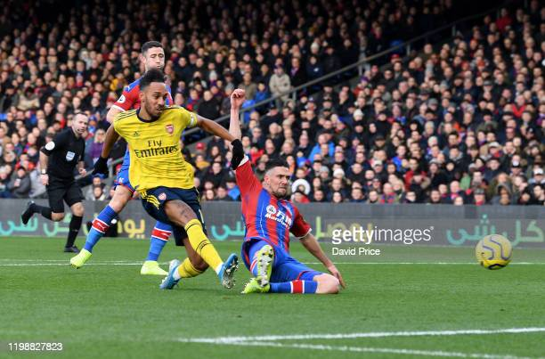 Pierre-Emerick Aubameyang scores a goal for Arsenal during the Premier League match between Crystal Palace and Arsenal FC at Selhurst Park on January...