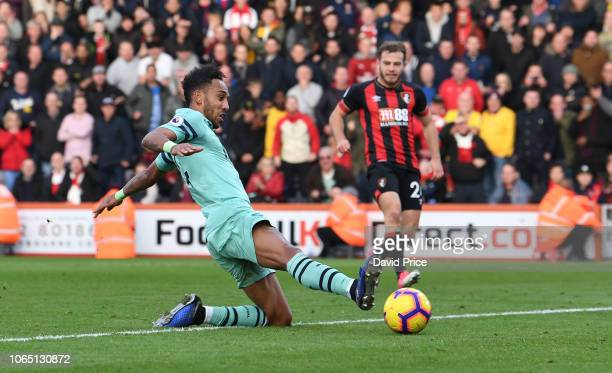 PierreEmerick Aubameyang scores Arsenal's 2nd goal during the Premier League match between AFC Bournemouth and Arsenal FC at Vitality Stadium on...