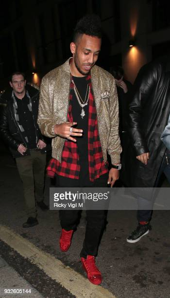 Pierre-Emerick Aubameyang seen attending the launch of spring issue of Wonderland Magazine at MNKY HSE on March 15, 2018 in London, England.