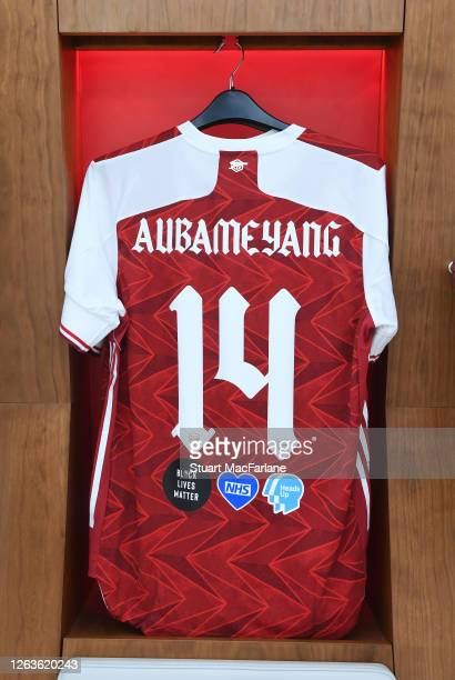PierreEmerick Aubameyang shirt in the Arsenal changing room before the FA Cup Final match between Arsenal and Chelsea at Wembley Stadium on August 01...