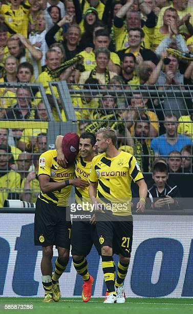 PierreEmerick Aubameyang Torschütze mit Spiderman Maske nach dem 20 Fussball Supercup 2014 Borussia Dortmund FC Bayern München 20