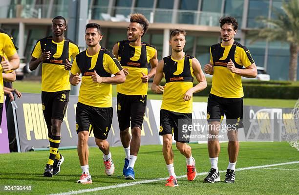 PierreEmerick Aubameyang with the team in a training session during Borussia Dortmund's training camp at Dubai Nad Al Sheba Sports Complexon January...