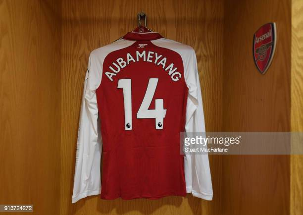 PierreEmerick Aubameyang's Arsenal shirt in the home changing room before the Premier League match between Arsenal and Everton at Emirates Stadium on...