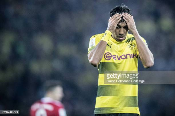 PierreEmerick of Dortmund is disappointed during the DFL Supercup 2017 match between Borussia Dortmund and Bayern Muenchen at Signal Iduna Park on...