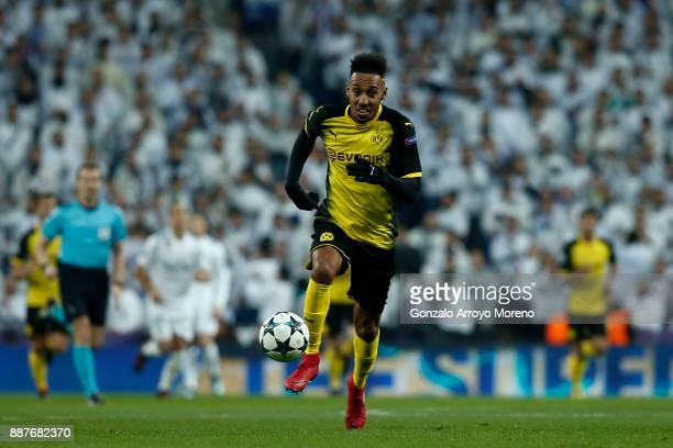 PierreEmetic Aubameyang of Borussia Dortmund controls the ball during the UEFA Champions League group H match between Real Madrid and Borussia...