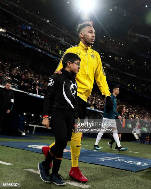 PierreEmetic Aubameyang of Borussia Dortmund enters to the pitch prior to start the UEFA Champions League group H match between Real Madrid and...