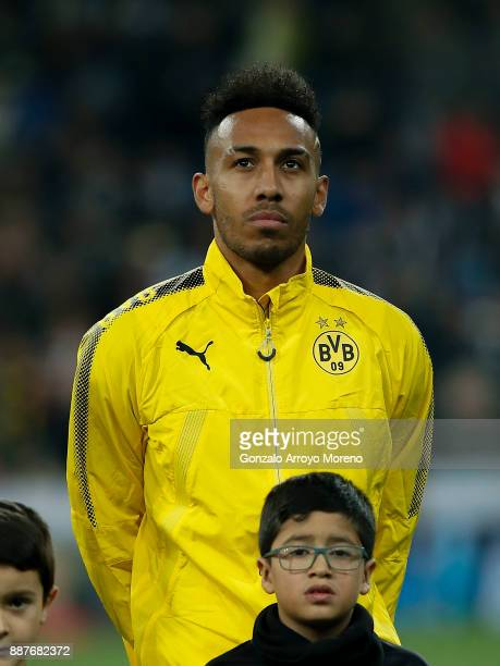PierreEmetic Aubameyang of Borussia Dortmund stands prior to start the UEFA Champions League group H match between Real Madrid and Borussia Dortmund...