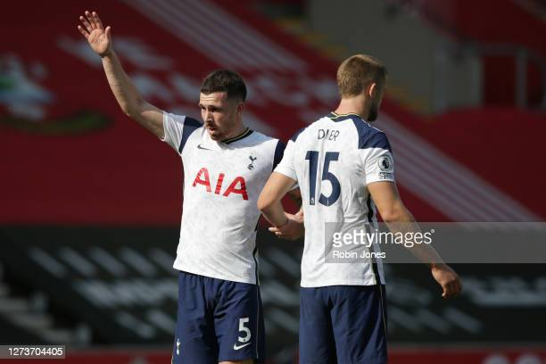 PierreEmile Højbjerg and Eric Dier of Tottenham Hotspur during the Premier League match between Southampton and Tottenham Hotspur at St Mary's...