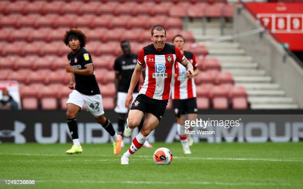 PierreEmile Højbjerg of Southampton during a friendly match between Southampton FC and Bristol City ahead of the Premier League restart at St Mary's...