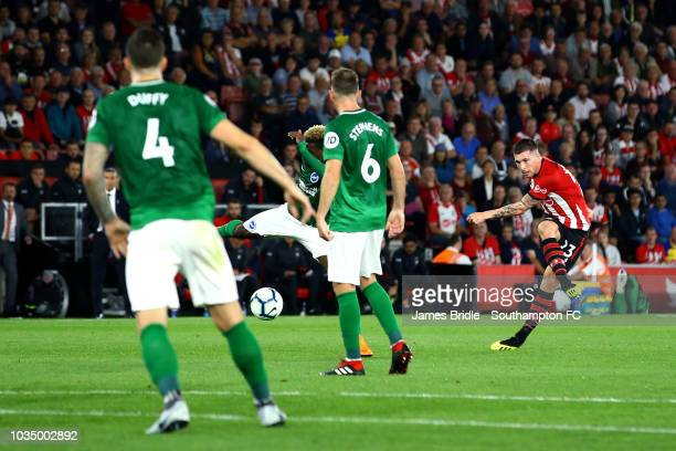 PierreEmile Højbjerg of Southampton FC scores during the Premier League match between Southampton FC and Brighton Hove Albion at St Mary's Stadium on...