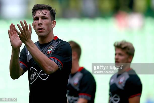 PierreEmile Hoejbjerg of Southampton applauds the fans after winning 10 the friendly match between FC Groningen an FC Southampton at Euroborg Stadium...