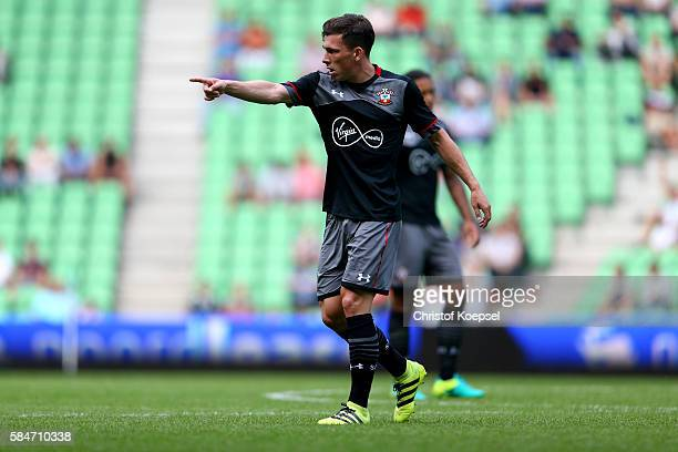 PierreEmile Hoejbjerg of Southampton issues instructions during the friendly match between FC Groningen an FC Southampton at Euroborg Stadium on July...