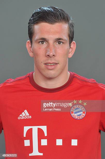PierreEmile Hojberg poses during the team presentation of FC Bayern Muenchen at Bayern's training ground Saebener Strasse on July 16 2015 in Munich...