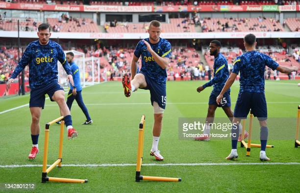 Pierre-Emile Hojbjerg and Eric Dier of Tottenham Hotspur warm up prior to the Premier League match between Arsenal and Tottenham Hotspur at Emirates...