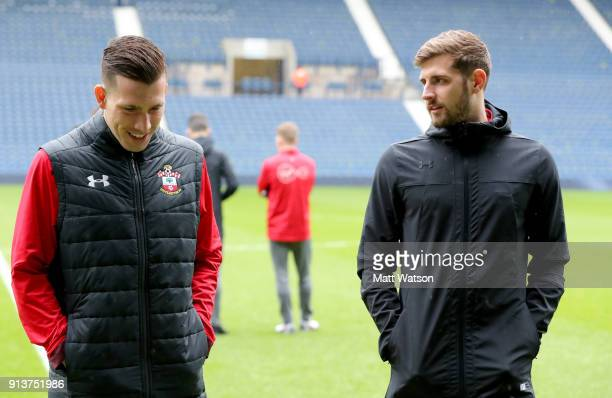 PierreEmile Hojbjerg and Jack Stephens of Southampton FC ahead of the Premier League match between West Bromwich Albion and Southampton at The...